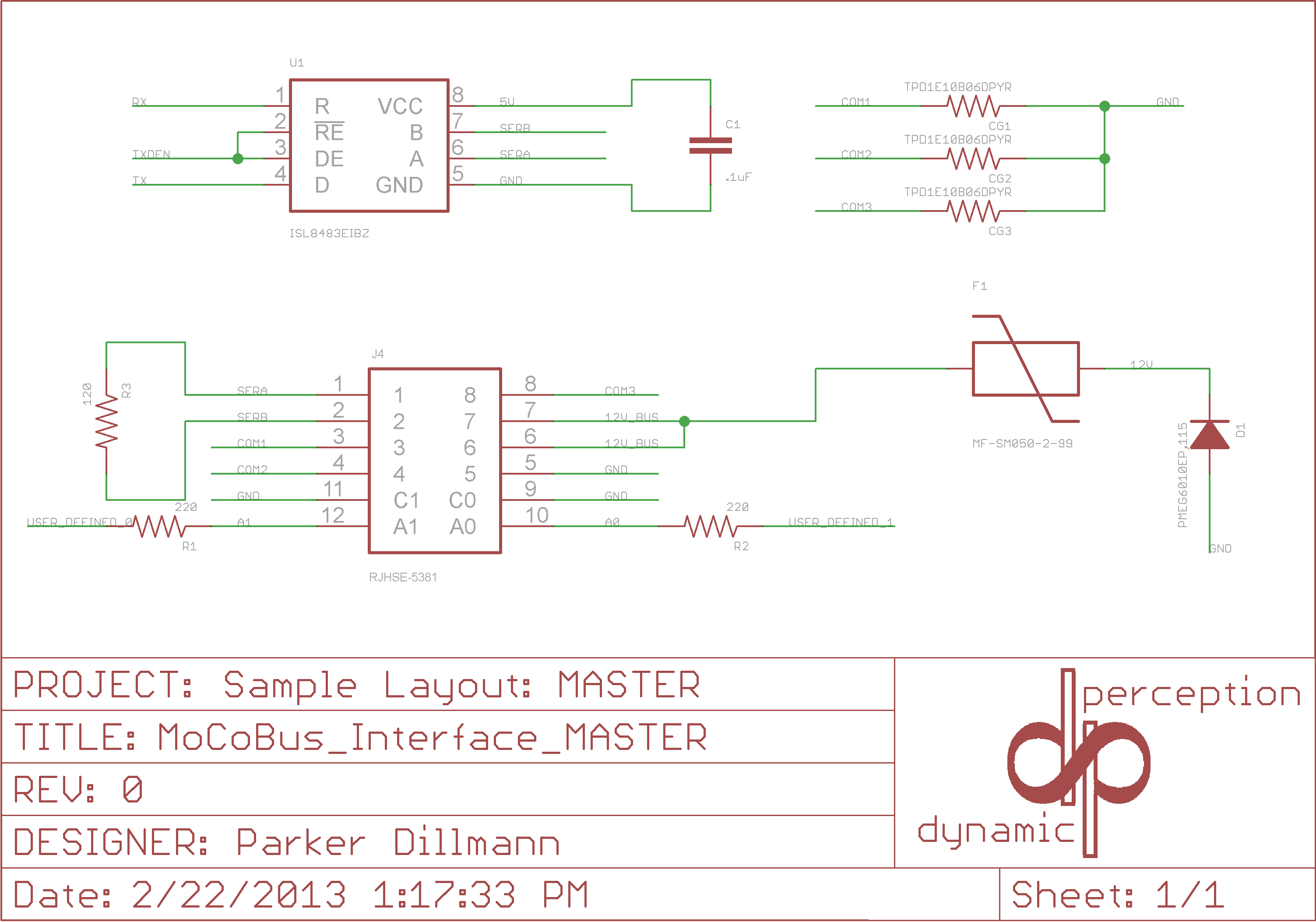 Mocobus Interconnects Dynamic Perception Rs485 4 Wiring Diagram To Aid In System Development The Following Reference Design Is Provided For A Master Device Showing Esd Protection Termination And